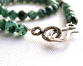 Green Emerald Necklace - Gemstone Necklace, Silver Beads ,Faceted Stones, Silver Pendant Toggle Clasp