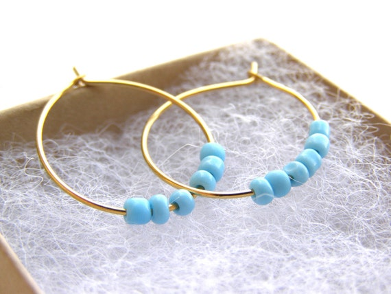 Turquoise Earrings Gold Plated Hoops