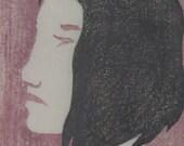 "Original Japanese woodblock print ""Waiting for you - 2"""