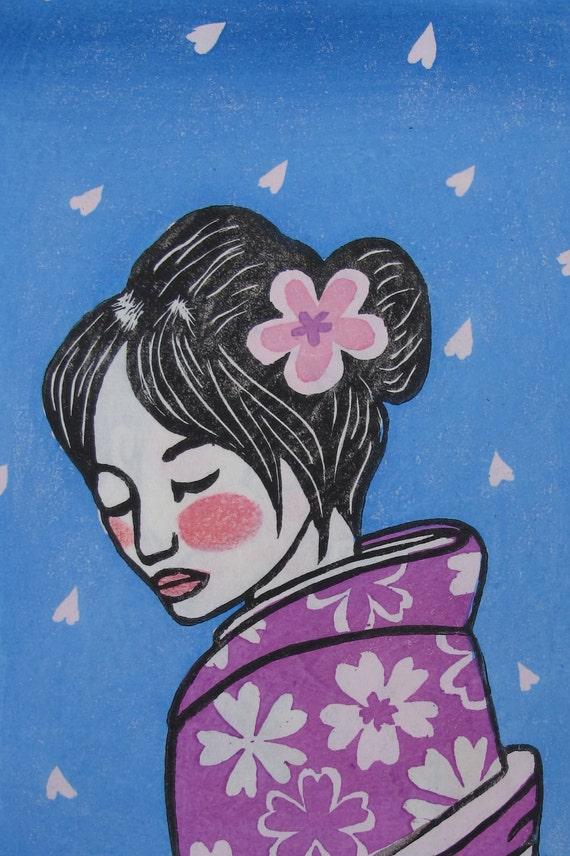"Original Japanese woodblock print ""Hanami - Petals rain"""