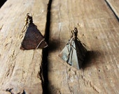 Earrings- Natural Wooden Pyramid Triangles - FREE US SHIPPING