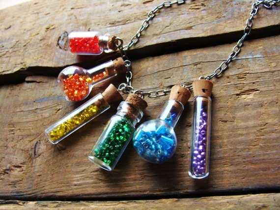 Little rainbow bottle necklace different style miniature bottles on silver chain