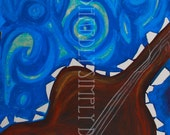 """Guitar Painting, Giclee Painting Print, Abstract Music Art, (12x18) """"Reading Music"""", Wall Decor"""