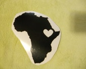 Black  Ethiopia Heart Vinyl Decal  for Car, Bumper, etc.  Heart for Africa Sticker