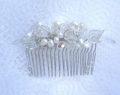 Hair Comb White Pearls and Swarovski Crystals for Bride, Bridesmaids or Special Occasion