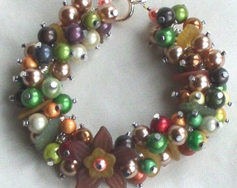 Autumn Fall  Bracelet Charms of Pearls and Flowers