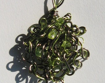 Pendant in Green and Brown Hand Formed Wire With Peridot Chips