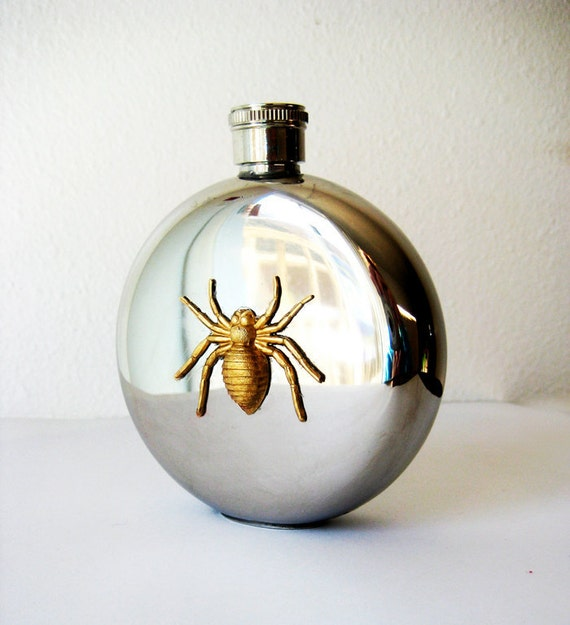 SALE Spider Flask, 5 oz Stainless Steel Hip Flask