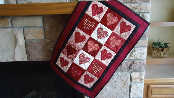 """Valentine's Red and White  Hearts 19 by 28"""""""