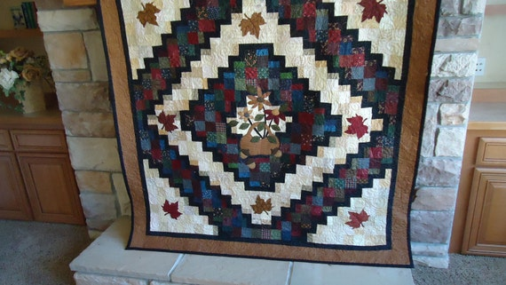 Americana Fall Maple Leaf and Patchwork Lap TV Quilt 58  inch square