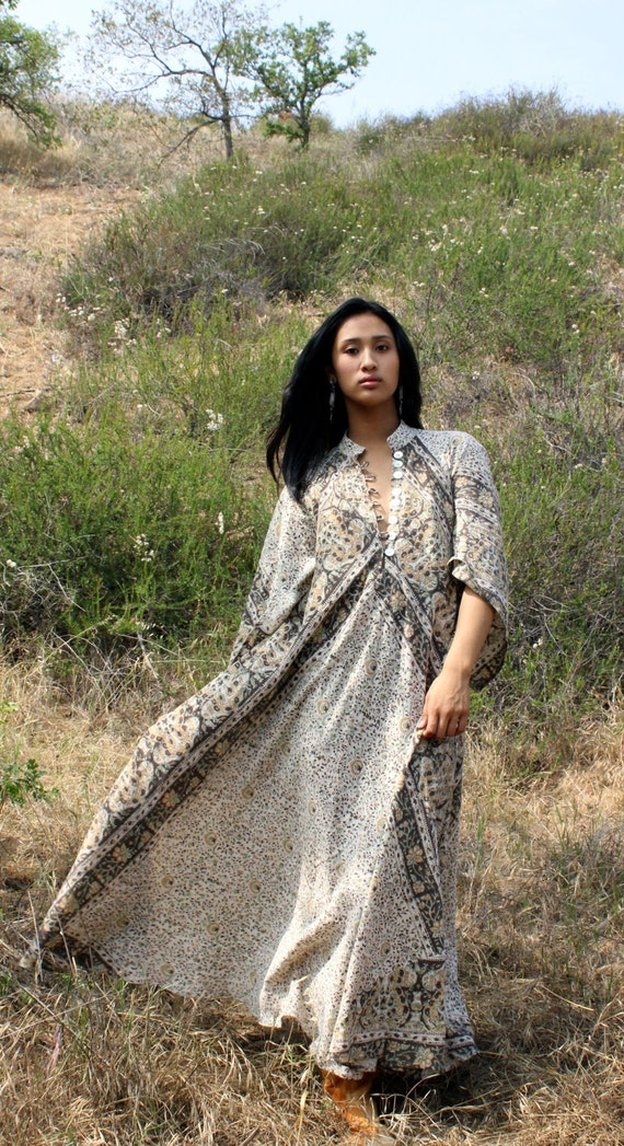 Earthy Goddess Indian Dress Vintage Cotton One of a Kind Circa 1960s 1970s