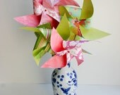 10 Large Handcrafted Paper Pinwheels PINK ROSE BOUQUET Set Custom for meadowb
