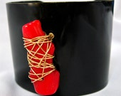 Black Enamel Cuff With Red Coral Branch Centerpiece