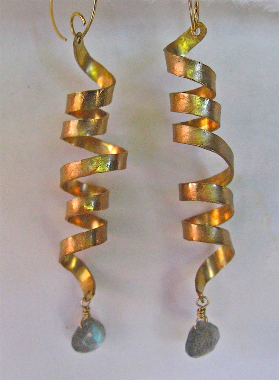 Golden Spiral Earrings with Labradite Drop