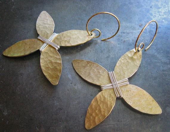 Golden Hammered Floral Cross Earrings