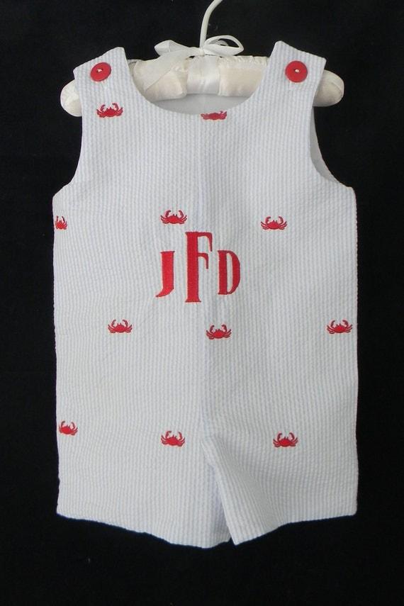 Crab embroidered seersucker Toddler Boy Jon-Jon Shortall Longall Brother/Sister