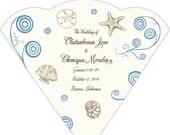 SET OF 25+  Naturals Swirls &  Seashells Wedding Fan custom colors available