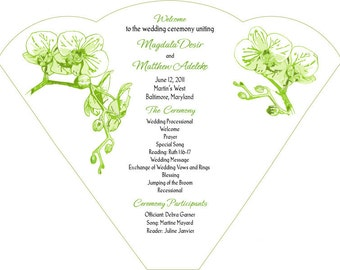 SET OF 25+  Green Orchid Branches Wedding Fan custom colors available