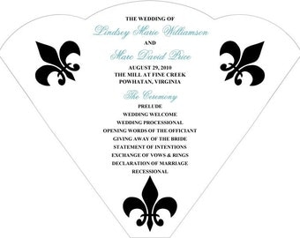 SET OF 25+  Fleur de Lis Variations Wedding Fan custom colors available