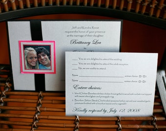 Set of 10 layered Ribbon Wedding Invitations and RSVP cards CUSTOM COLORS