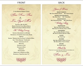 SET OF Vintage Scroll Design Classic Wedding Programs custom colors available - 75 cents each