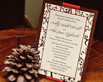 Set of 10 Layered Ribbon & Vines Wedding Invitations and RSVP cards CUSTOM COLORS