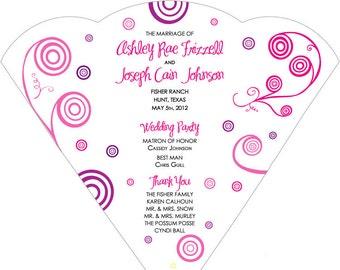 SET OF 25+ Pink & Purple Swirls Design Wedding Fan custom colors available