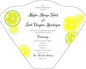 SET OF 25+ Yellow & Green Lemons and Limes Design Wedding Fan custom colors available