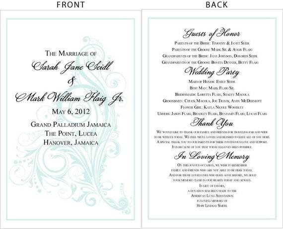 Swirling Seas Whimsy Wedding Programs Diy Printable File