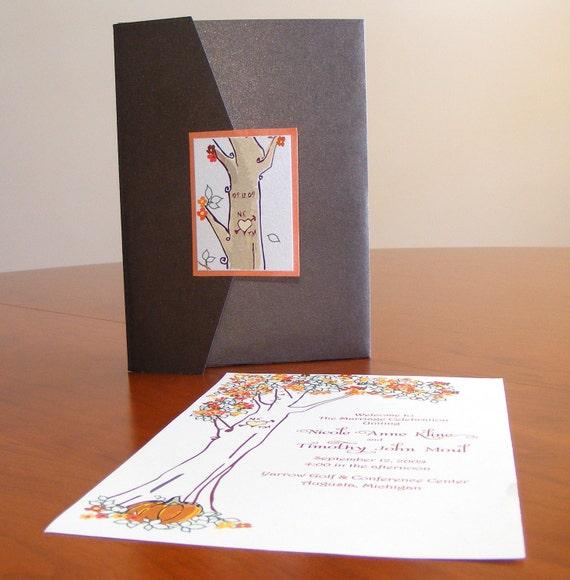 Lovely Autumn - Summer - Spring Tree Pocketfolder Wedding Invitations