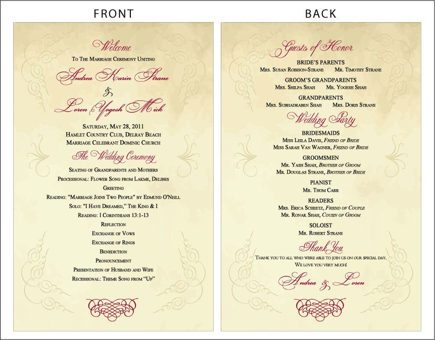 SET OF Vintage Scroll Design Classic Wedding Programs Custom