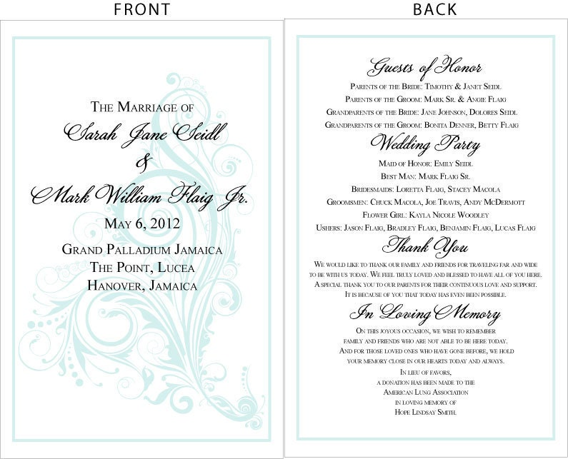 Swirling Seas Whimsy Wedding Programs Diy Printable File