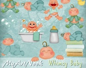 WHIMSY BABY-  Digital Clipart for  Scrapbooking, Web Design, Card making & Paper crafts