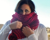 Crochet CHUNKY Ribbed Scarf - Deep Red - Made to Order
