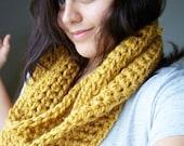 Crochet Infinity Scarf - Mustard Yellow SIZE SMALL