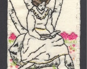 Reading A Book Embroidered ACEO