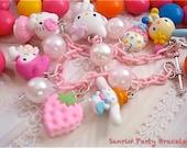 LAST ONE Shop Kawaii Sanrio Party Bracelet Charm Hello Kitty Charmy Kitty Usa ha na cinamoroll my melody Sweet Lolita Fairy Kei