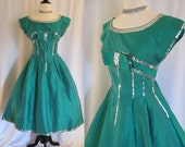 RESERVED For Sonya - Spring Sale - Vintage Dress - 1950s Emerald Green Taffeta and Silver Sequin - Size S