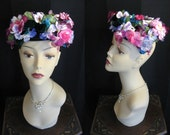 Vintage MR CHARLES 1950s-60s Green Velvet Hat with Pink and Purple Flowers