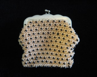 Vintage 1950s - 60s Beigh Coin Purse with Black Beading - Bags by Susan
