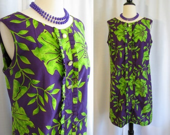Vintage 1960s Mod Dress - Glazier Purple and Green Floral Sleeveless Shift Dress