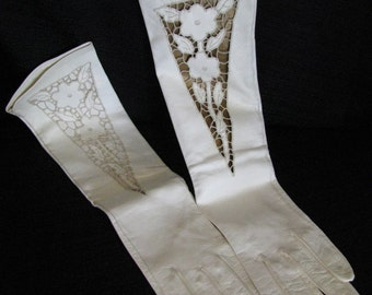 Vintage Italian Leather Embroidered Cut Out Elbow Length Gloves - Wedding, Prom XS
