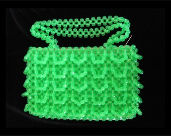 Vintage Mademoiselle Purse- 1960s Green Beaded Handbag