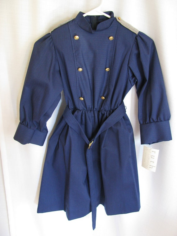 Vintage Girls Ruth of Carolina Navy Blue Dress with Original Tag Size 8 - 10