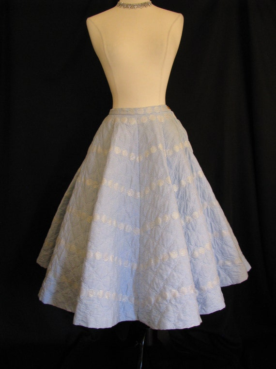 SPRING SALE - Vintage 1950s Kay-Dee of California Blue Gingham Quilted Full Circle Swing Skirt - Size S