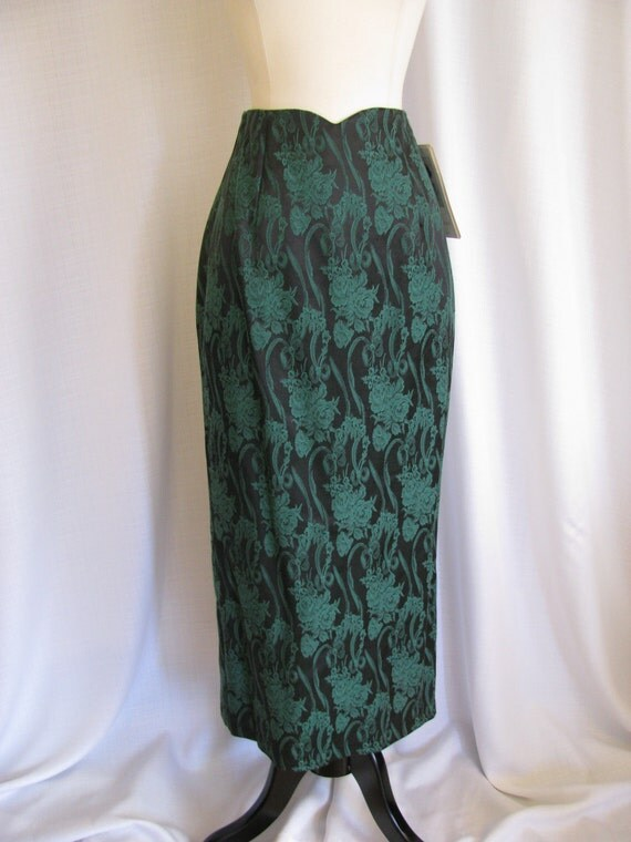 Vintage 1980s Scott McClintock Green Floral Skirt With Back Bow and Ruffle Size 6 NWT