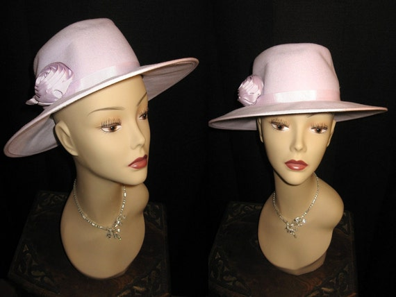 Vintage Lilac IMPORTINA Wide Brim Wool Hat with Flower