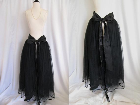 Vintage Andrea Jovine Black Front Tie Layered Tutu Tulle Wrap Skirt - NWT Size M L Medium Large