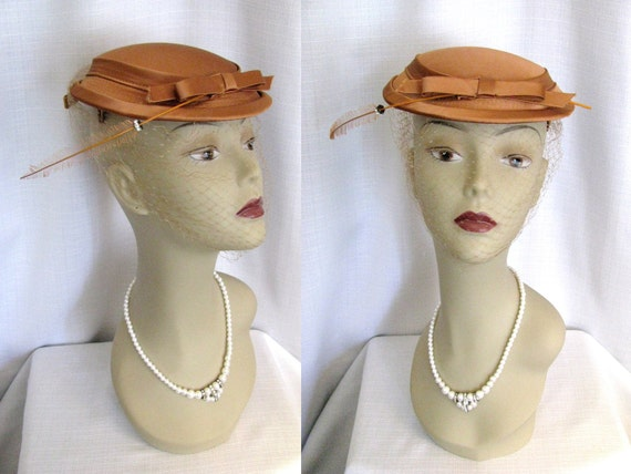 SALE - Vintage 1950s Hat - Copper Satin w/ Feather, Rhinestones, and Veil