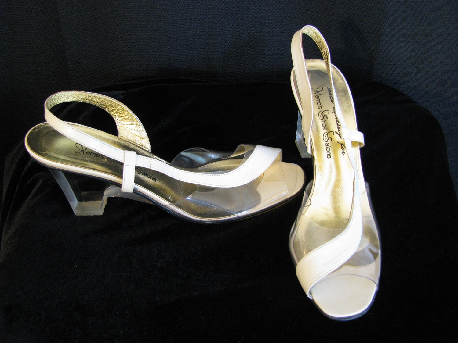 vintage kemps shoe salons clear lucite wedge by